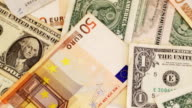 Euro and dollar paper notes video