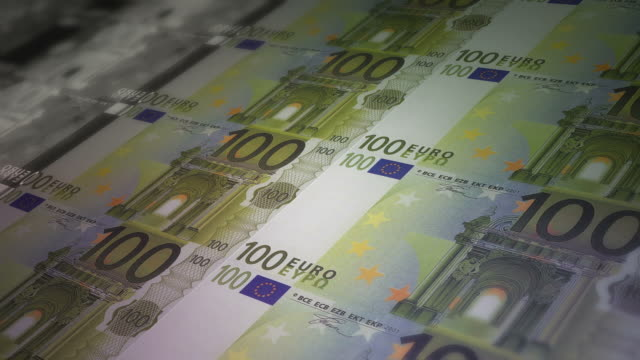Euro banknote printing paper money video