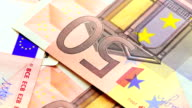 euro banknotes, close-up video