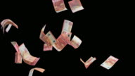 SLO MO Euro banknotes colliding in the air video