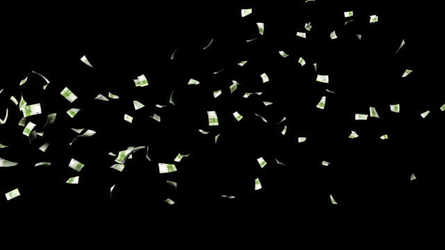 Euro Banknotes Flying Particles, against black video