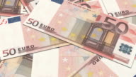 euro banknotes of 50 in a row. European Union Currency. video