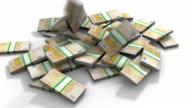 Euro banknotes pile video