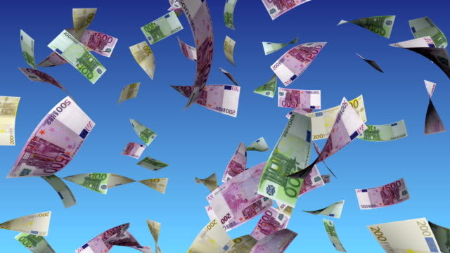 Euro Bills Falling From Sky with Alpha Matte video