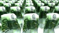 Euro bills walking on white background video