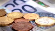 Euro coins rotation video
