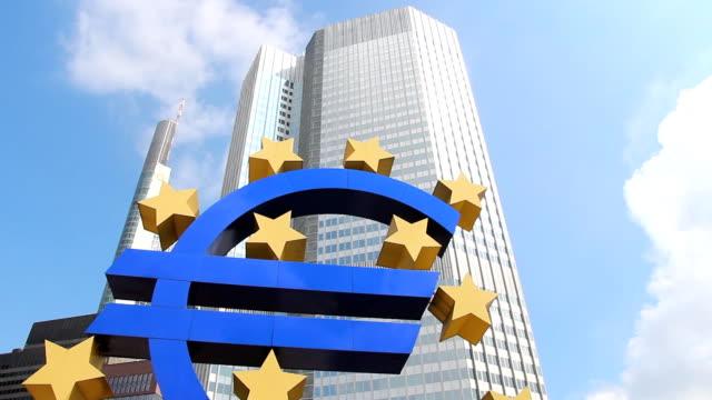 Euro currency sign, Frankfurt video