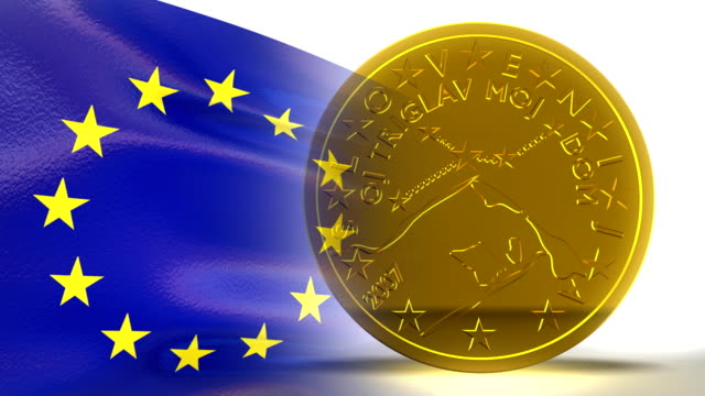 Euro Flag and 50 Cents 3D Motion Background HD video