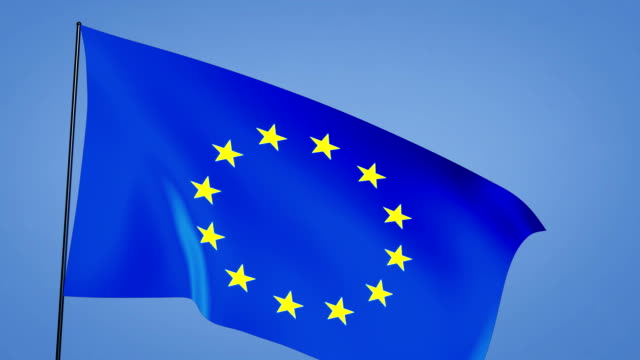 euro flag blue sky video