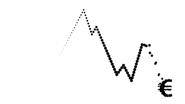 CONSTANT TREND CHART - euro icon, pure black dots (LOOP) video
