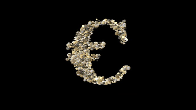 Euro made of coins exploding against black video