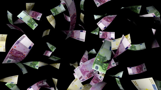 Euro Money Bill Alpha Luma Matte European Bank Success Idea Flying Earn Concept Inspiration Sky Blue Smiling Happy Rain Bill Business video
