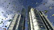Euro money fall from animated real buildings video