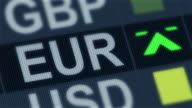 World exchange market. Currency rate fluctuating. EU euro rising, falling video
