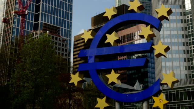 Euro symbol European Bank Frankfurt video