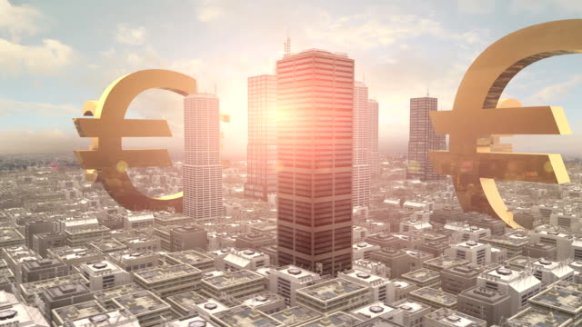 Euro Symbol in The Middle of a Metropolitan City video