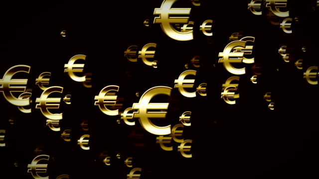 Euro Symbols Gold And Black Rising video