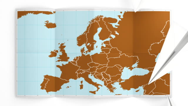 Europe map folds out on white. Three in one. video