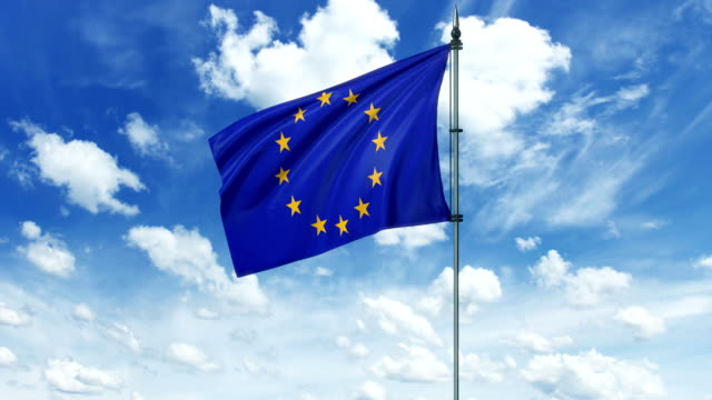 Europe Union flag animation, alpha channel video