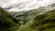 European Alpine Pass in clouds. video