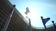 European Parliament with European flags in Brussels video