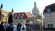 European tourists in Germany choosing souvenirs, architecture. Beautiful shot of Europe, culture and landscapes. Traveling sightseeing, tourist views landmarks of Germany. World travel, west European trip cityscape, outdoor shot video
