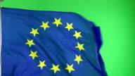 4K: European Union EU Flag on green screen not CGI video