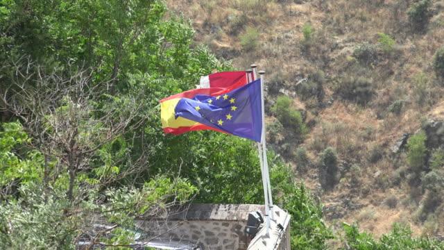 European Union Flag And Flag Of Spain video