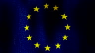 European Union Flag Waving Fast Seamless Looping (Realistic Fabric Texture, Endless Loop) video
