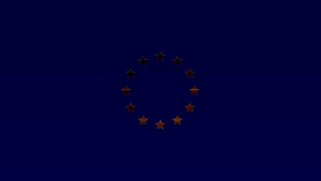 European Union golden stars on dark blue, Loopable video