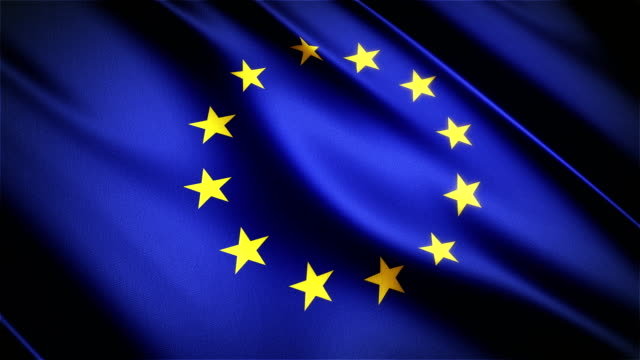 European Union realistic national flag seamless looped waving animation video