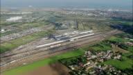 Eurotunnel terminal - Aerial View - Nord-Pas-de-Calais, Pas-de-Calais, Arrondissement de Calais, France video