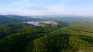 Evening Aerial of Lakes In Upstate South Carolina Blue Ridge Mountains video