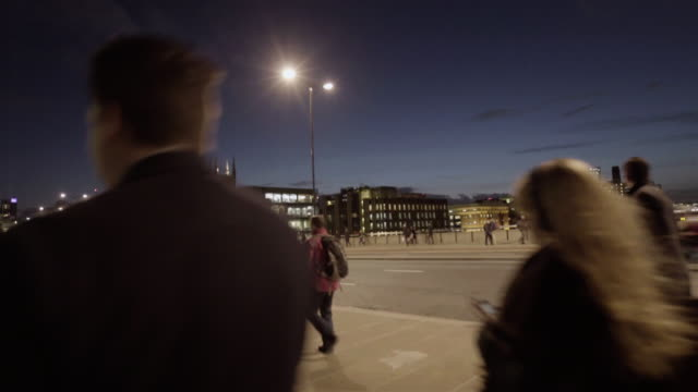 evening city business workers video