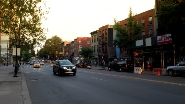 Evening Establishing Shot of Businesses Along Atlantic Avenue in Brooklyn video