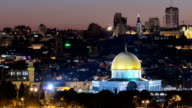 Evening in Old City, Temple Mount with Dome of the Rock view from the Mt of Olives in Jerusalem video