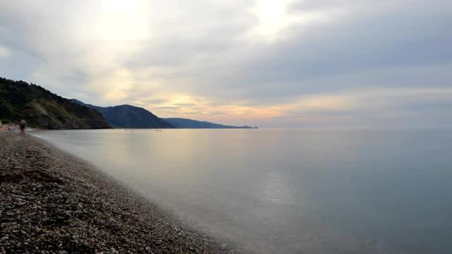 Evening on sea beach video
