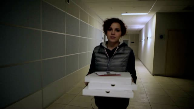 Evening Pizza Delivery To Business Center video