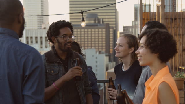 Evening Rooftop Party in Downtown Area video
