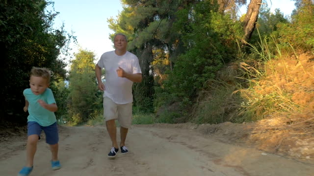 Evening run with granddad in the woods video