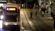 Evening rush hour in big city, commuters travel by public transport after work video