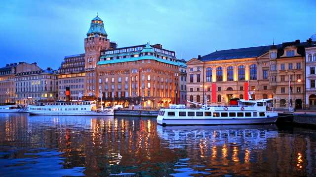Evening scenery of Stockholm, Sweden video