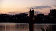 Evening shot of Cincinnati Skyline  - CINCINNATI, OHIO USA video