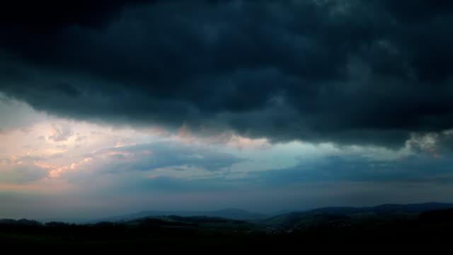 Evening thunderstorm - fantastic landscape video background. video