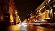Evening traffic in St. Petersburg, Nevskiy Prospect time-lapse photography video