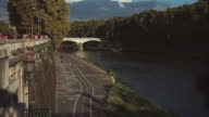 Everyday life in Rome: bicycle lane by Tiber river video