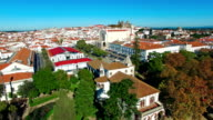 Evora city panoramic aerial view video