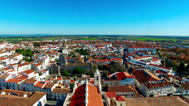 Evora city panoramic aerial view video