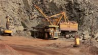 Excavator and dumper in the quarry, excavator loads the raw materials in the dumper, work in the iron ore quarry. video