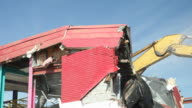 Excavator Demolishing a Building Roof and Wall video